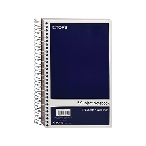 """TOPS Oxford 5-Subject Notebook, 6"""" x 9.5"""", Wide Ruled, 175 Sheets, Navy (TOP 63859)"""