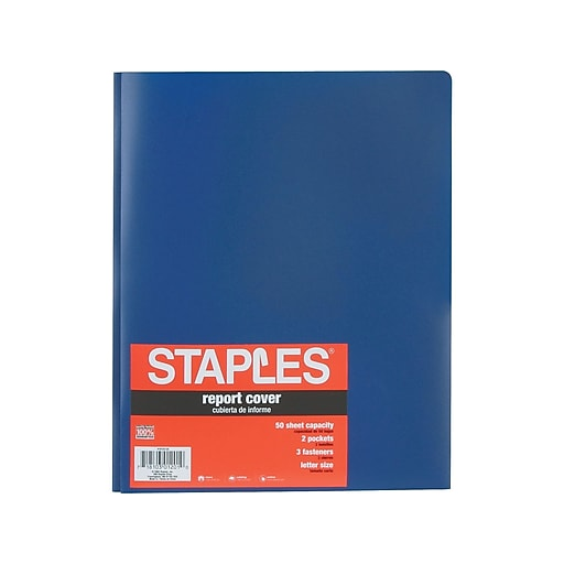 Staples Poly 2 Pocket Folder W Prong Fasteners Blue Each 21646