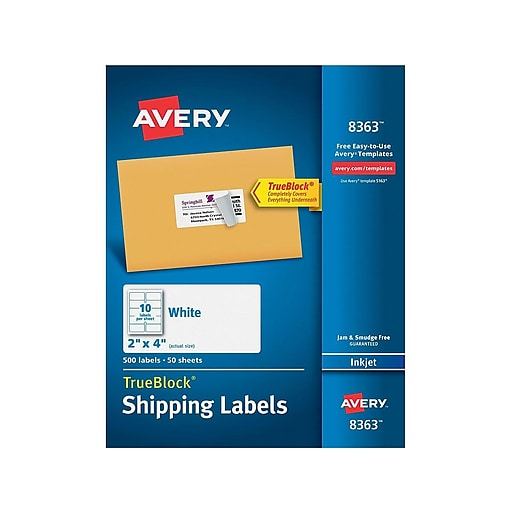 avery 8363 white shipping label with trueblock technology 2 w