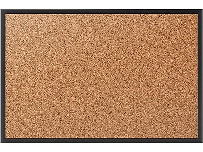 Quartet Classic Cork Bulletin Board, Black Frame, 3'H x 5'W (2305B)