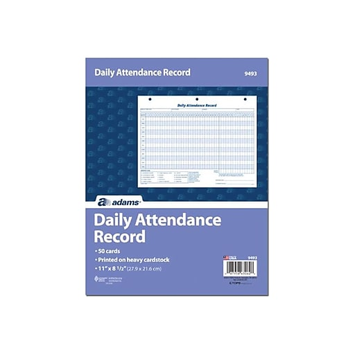 adams daily attendance records 11 x 8 1 2 staples