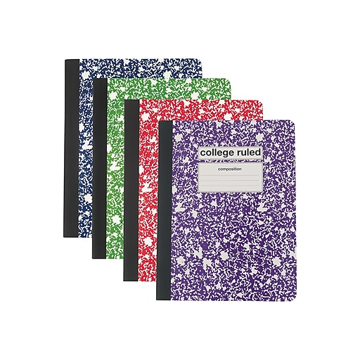"""Staples Composition Notebook, 9.75 x 7.5"""", College Ruled, 80 Sheets, Assorted (25536M)"""