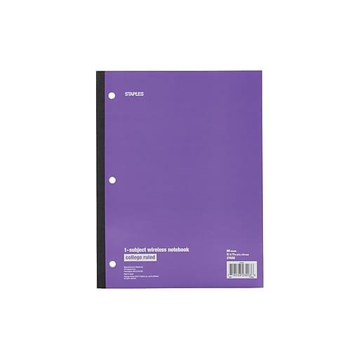 Staples 1-Subject Notebook, 8 5