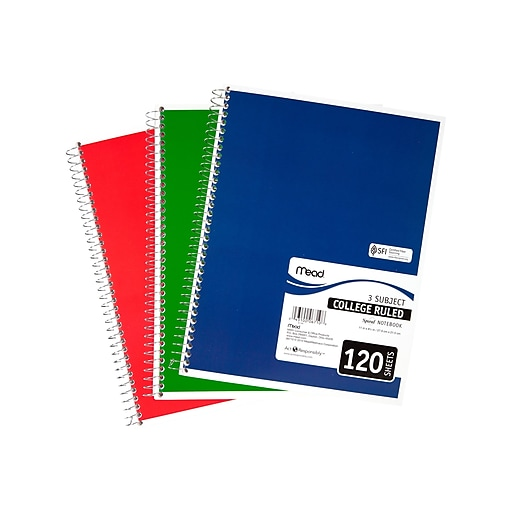 Mead Spiral 3-Subject Notebook, 8 5