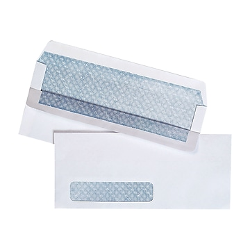 """Staples Self Seal Security Tinted #10 Business Envelope, 4 1/8"""" x 9 1/2"""", White Wove, 500/Box (511290/99297)"""
