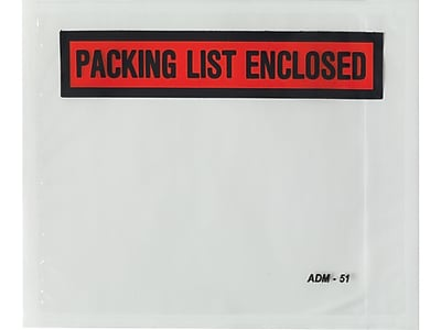 "Staples Packing List Envelope, 4 1/2"" x 5 1/2"", Red, Panel Face, ""Packing List Enclosed"", 1000/Carton (53026)"