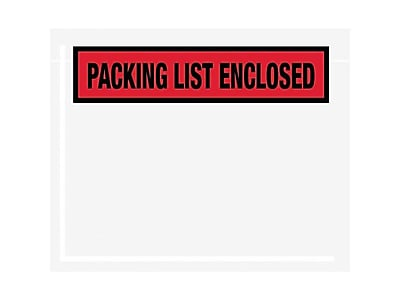 """SI Products Packing List Envelope, 4 1/2"""" x 6"""", Red, Panel Face, """"Packing List Enclosed"""", 1000/Carton (53020)"""
