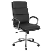 Global Manchester Faux Leather High Back Executive Chair, Ebony Black (80989H-2)