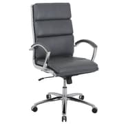 Global Manchester Faux Leather High Back Executive Chair, Charcoal Brown (80989H-3)