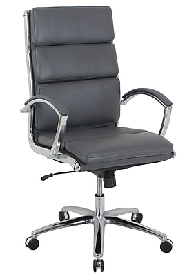 kathy ireland® Manchester Faux Leather High Back Executive Chair, Charcoal Brown (80989H-3)