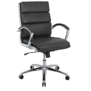 Global Amherst Faux Leather Mid-Back Executive Chair, Ebony Black (80989M-2)