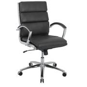 kathy ireland® Amherst Faux Leather Mid-Back Executive Chair, Ebony Black (80989M-2)