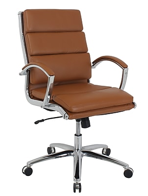 kathy ireland® Amherst Faux Leather Mid-Back Executive Chair, Saddle Brown (80989M-3)