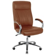 kathy ireland® Paloma Bonded Leather Executive Chair with Active Lumbar, Saddle Brown (81003H-B-1)