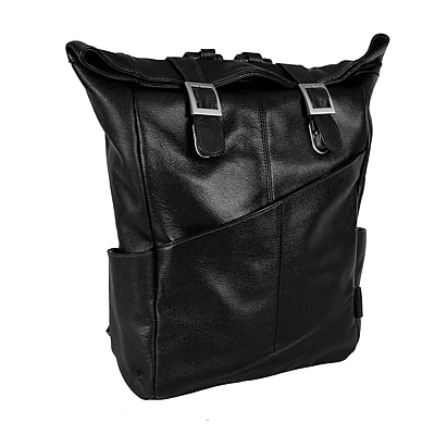 Mcklein Leather Dual Access Laptop Backpack, Kennedy, Pebble Grain Calfskin Leather, Black (88735)