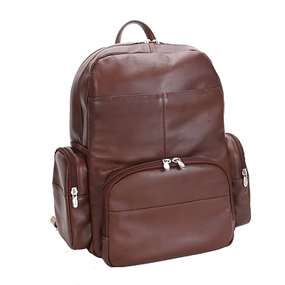 Mcklein Leather Dual Compartment Laptop Backpack, Cumberland, Pebble Grain Calfskin Leather, Brown (88364)