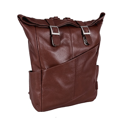 Mcklein Leather Dual Access Laptop Backpack, Kennedy, Pebble Grain Calfskin Leather, Brown (88734)