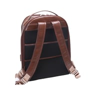 Mcklein Leather Dual Compartment Laptop Backpack, Parker, Pebble Grain Calfskin Leather, Brown (88554)