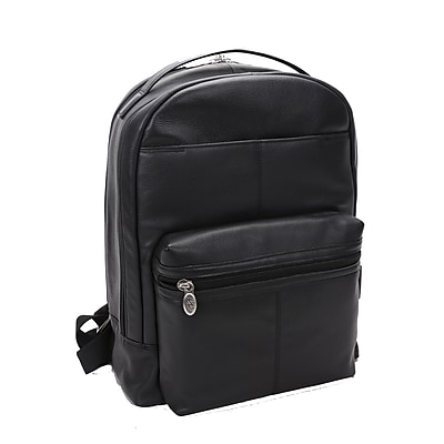 Mcklein Leather Dual Compartment Laptop Backpack, Parker, Pebble Grain Calfskin Leather, Black (88555)