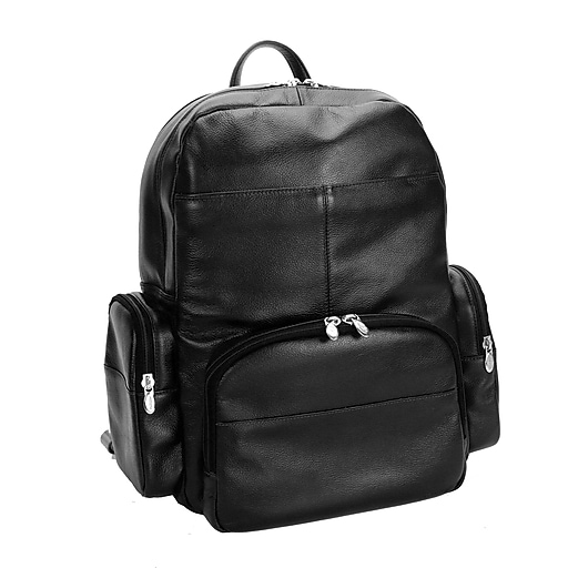Mcklein Leather Dual Compartment Laptop Backpack, Cumberland, Pebble Grain Calfskin Leather, Black (88365)