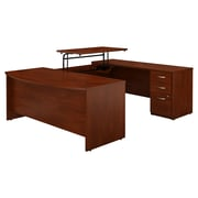 Bush Business Furniture Westfield Elite 72W x 36D Sit to Stand Bow Front U Desk with File Cabinet, Hansen Cherry (SRE389HCSU)