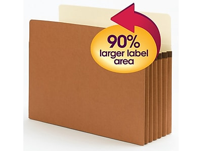 "Smead SuperTab File Pockets, Oversized Straight Cut Tab, 5.25"" Expansion, Letter Size, Redrope, 10/Box (73240)"