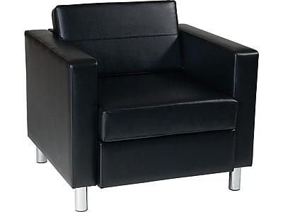 Office Star Worksmart Pacific Vinyl Club Chair, Black (PAC51-V18)