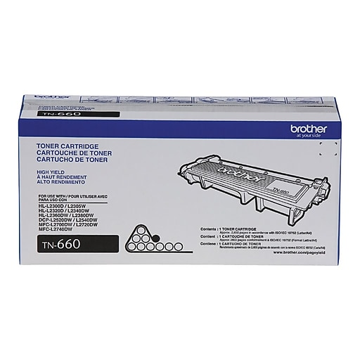 Brother TN660 Black Toner Cartridge, High Yield
