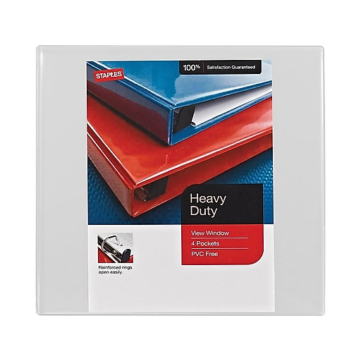 "Staples Heavy-Duty 4"" 3-Ring View Binders, White, 4/Carton (24696CT)"