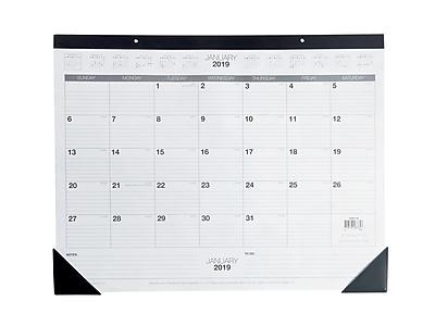 "2019 Staples 17"" x 22"" Desk Pad Calendar, Black/White (12951-19-CC)"