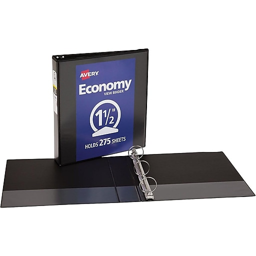 1 1 2 avery economy view binders with round rings black staples
