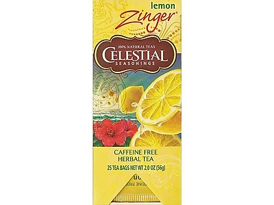 Celestial Seasonings Zinger Lemon Tea Bags, 25/Box (31010)