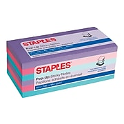 """Staples Stickies Pop-Up Standard Notes, 3"""" x 3"""" Assorted, 100 Sheets/Pad, 12 Pads/Pack (S-33BOP12)"""
