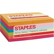 "Staples Stickies Standard Notes, 3"" x 5"" Assorted, 100 Sheets/Pad, 12 Pads/Pack (S-35BR12)"