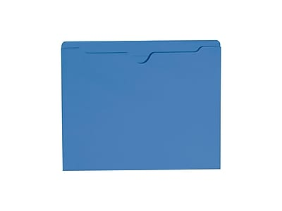 Smead Paper Stock File Jacket, Reinforced Straight Cut Tab, Letter Size, Blue, 100/Box (75502)