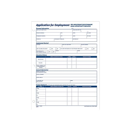 adams employment application forms 8 1 2 x 11 1 part staples