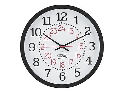 Staples Wall Clock, Plastic, 14