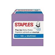 """Staples Stickies Pop-Up Standard Notes, 3"""" x 3"""" Assorted, 100 Sheets/Pad, 6 Pads/Pack (S33BOP6/52558)"""