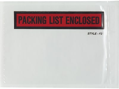 """Staples Packing List Envelope, 4 1/2"""" x 6"""", Red, Panel Face, """"Packing List Enclosed"""", 1000/Carton (150CT8/F2)"""