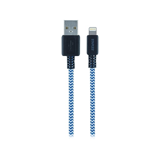 Staples 6' Braided Lightning to USB Charge/Sync Cable, Blue/Red