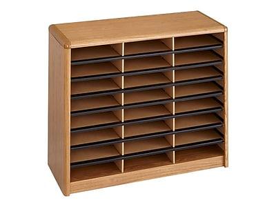 Safco Value Sorter 24 Compartment Literature Organizer, Medium Oak (7111MO)