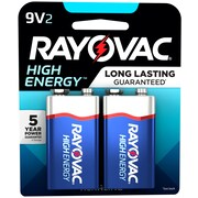 Rayovac 9V High Energy Alkaline Batteries, 2/Pack (A1604-2K)