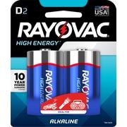 Rayovac High Energy Alkaline Batteries, D, 2/Pack (813-2K)