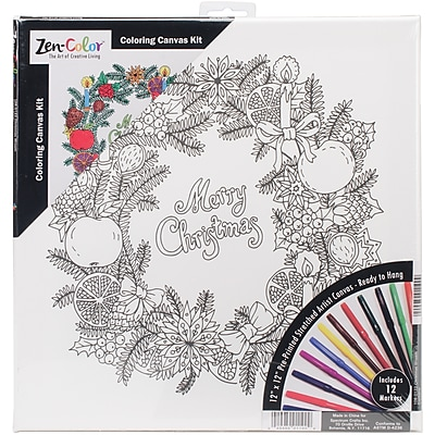 Tobin Zen Color Christmas Wreath Adult Holiday Coloring Canvas 12