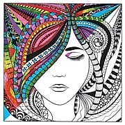 """Tobin Lady Adult Coloring Canvas, 12"""" x 12"""" (10801-07)"""