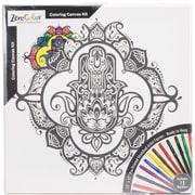 """Tobin Zen-Color Hamsa Adult Coloring Canvas, 12"""" x 12"""" (10801-05)"""