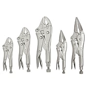"""Crescent Locking Pliers Set, 5"""", 7"""" & 10"""" Curved Jaw, 6"""" & 9"""" Long Nose with Wire Cutter (181-CLP5SETN)"""