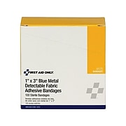 """First Aid Only 1""""W x 3""""L Metal Detectable Bandages, 100/Box (H175)"""