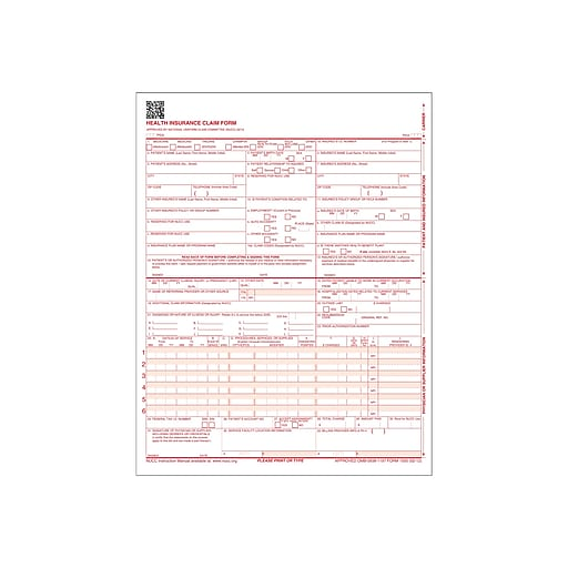 ComplyRight CMS-1500 Health Insurance Claims, 250/Box (CMS12LC250)