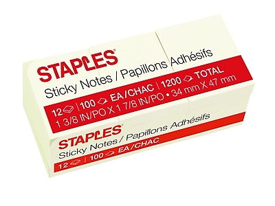 Staples Stickies Standard Notes, 1.38 x 1.88